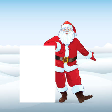 Santa Claus holding Banner, white board Vector