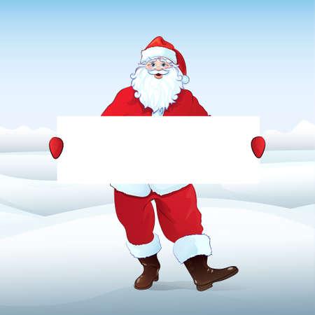 Santa Claus holding Banner, white board Vector