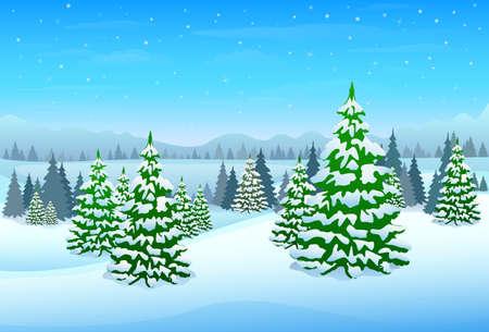 cold cartoon: winter forest landscape christmas background Illustration