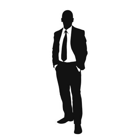 standing: vector business man black silhouette Illustration