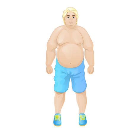 fat overweight sport man wear blue shorts Vector