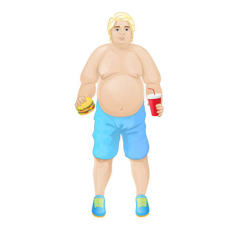 Fat overweight man eat burger, junk fast food and drink, concept of unhealthy diet Illustration