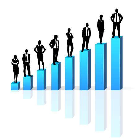 Business people standing on 3d financial bar graph group black silhouette Vector