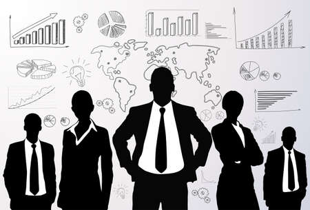 team success: Business people group black silhouette graph
