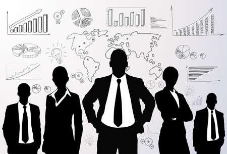 contadores: Grupo de gente de negocios gráfico de la silueta en negro Vectores