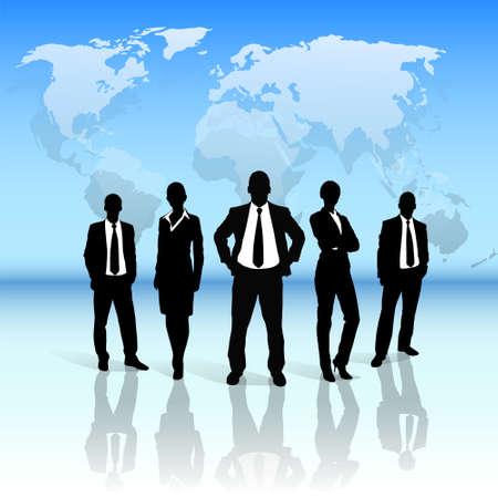 gruppo uomini d'affari silhouette nera su mappa del mondo