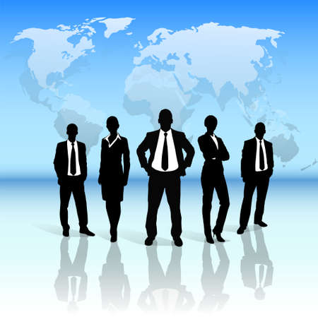 groupe de gens d'affaires silhouette noire sur la carte du monde Vecteurs