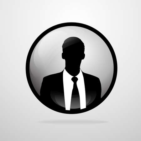 businessman silhouette, male circle icon avatar profile