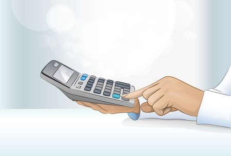 rekenmachine zakenvrouw accountant de hand Stock Illustratie