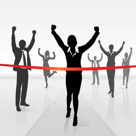 running businesswoman crossing finish line win Vector