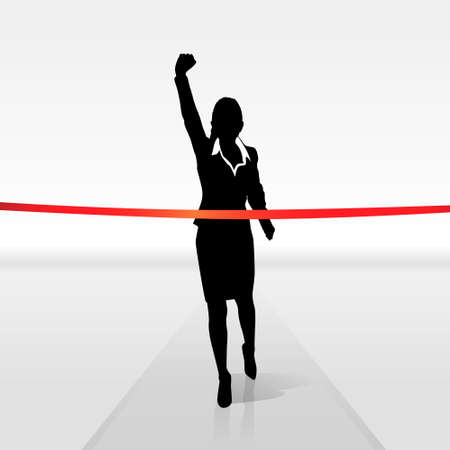 silhouette of woman: running businesswoman crossing finish line, vector