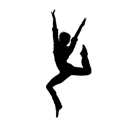 dance music: dancing girl black silhouette Illustration