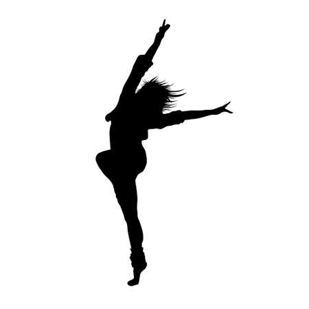 woman jump: dancing girl black silhouette Illustration