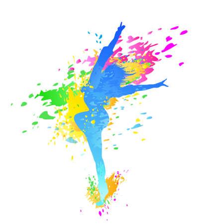 colorida chica bailando chapoteo danza pintura