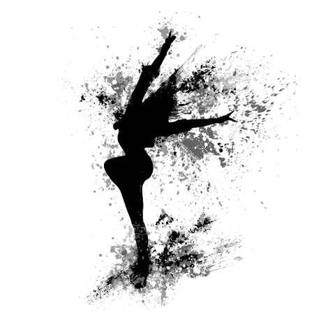 bailar�n: chica bailando chapoteo de la pintura negro silueta aislados en blanco Vectores