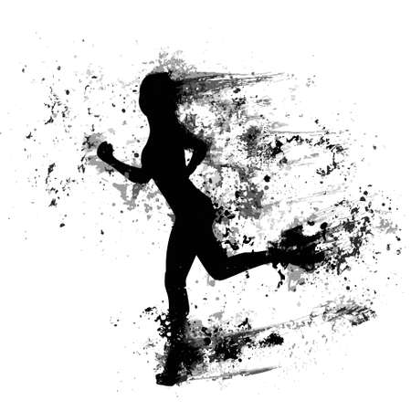 sport woman run paint splash silhouettes, black girl isolated Vector