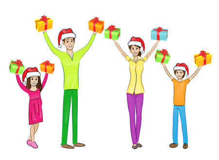 christmas holiday happy family raised hands arms up hold gift box Vector