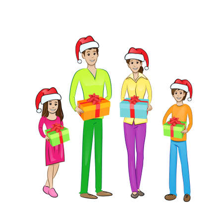 christmas holiday happy family hold gift box wear red new year Vector