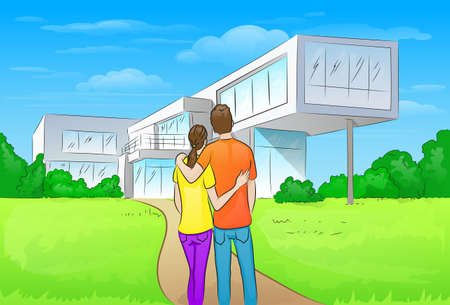 couple embracing in front of new big modern house Vetores