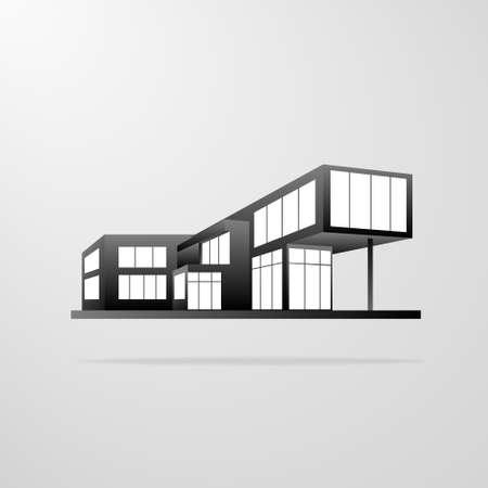 現代住宅建築、不動産のアイコン  イラスト・ベクター素材