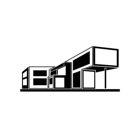 modern house building, real estate icon  イラスト・ベクター素材