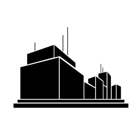 office building: factory business office building silhouette icon