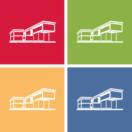 modern house building, colorful real estate concept icon Vector