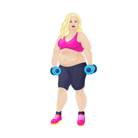 Fat overweight sport woman hold dumbbells Vector