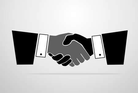 Handshake icon vector silhouette business hands shake Vector