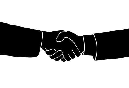 black handshake: Handshake icon vector sillouette black business Illustration