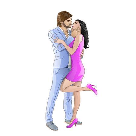 amor pareja besándose fecha romántica, los hombres de moda visten traje azul y mujer de vestido rosa sexy zapatos de tacón alto