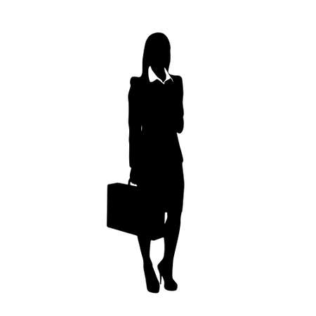 business woman black silhouette hold briefcase Çizim