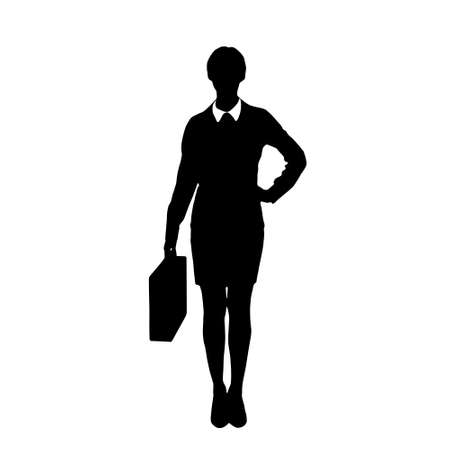 black woman: business woman black silhouette hold briefcase Illustration