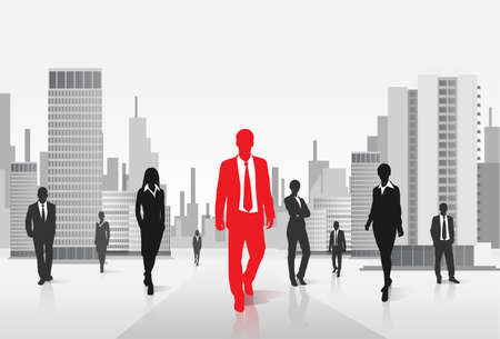 coworker: red businessman silhouette over city background Illustration