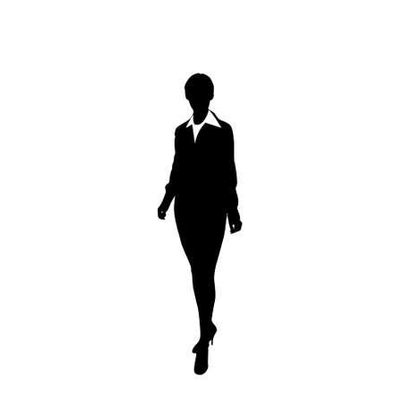 vector business woman black silhouette walk step forward