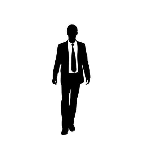 black professional: vector business man black silhouette walk step forward Illustration