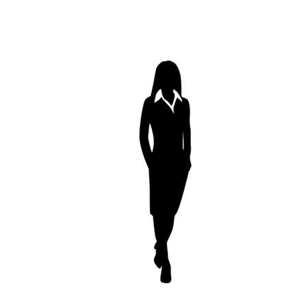 standing: vector business woman black silhouette walk step forward