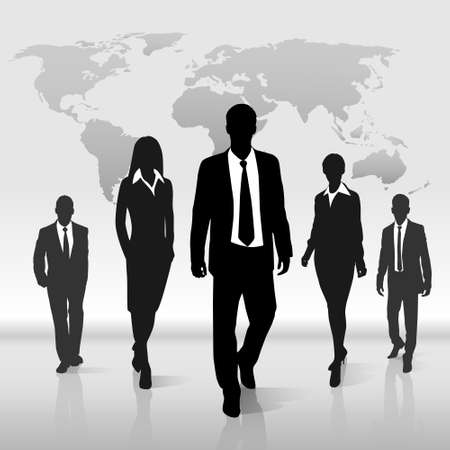 Business people group walk silhouette over world map Illustration