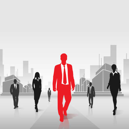 red businessman silhouette over city background Vector