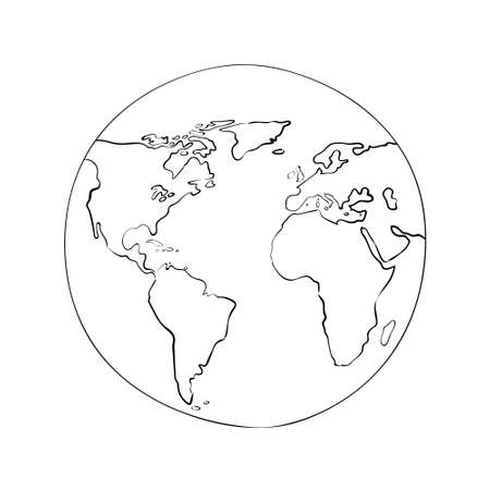 sketch globe world map black vector illustration