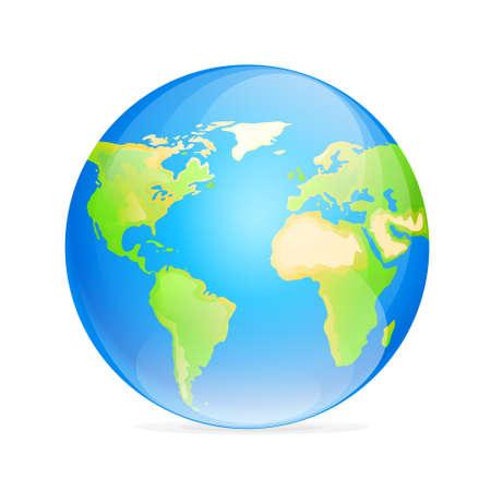 Vector globe icon color world map Vector