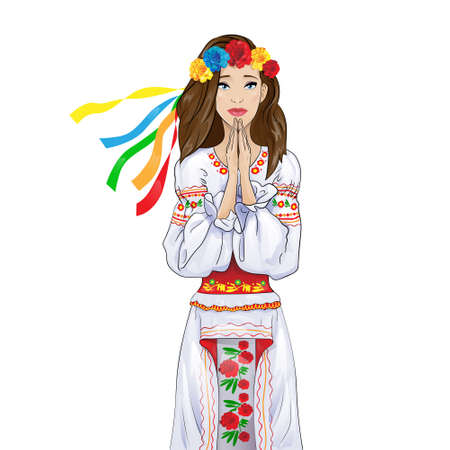 clasp: woman pray clasp hands ukrainian national clothes Illustration