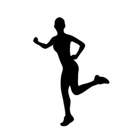 sport woman run silhouettes Vector