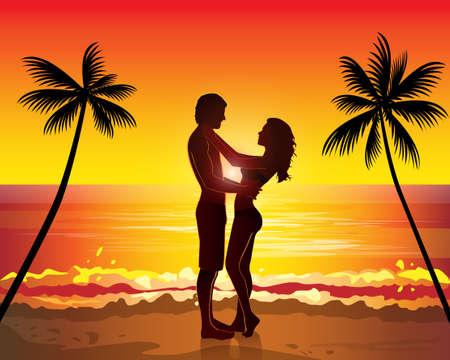 ロマンチックなカップルがキス、日没エキゾチックなヤシの木