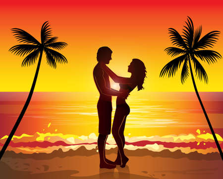 beach sunset: Romantic couple kissing, sunset exotic palms tree