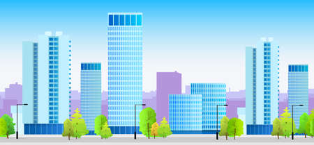 skylines: city skylines blue illustration architecture building cityscape Illustration
