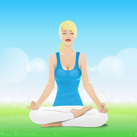 woman sitting in yoga lotus position closed eyes Vector