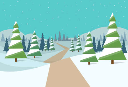 winter scene: winter forest landscape christmas background, pine snow trees Illustration