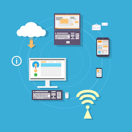 computer tablet phone cloud device connection concept Vector
