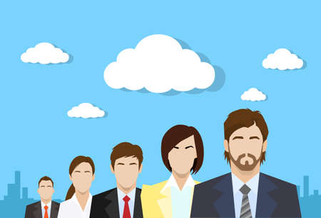 manager: business people group color profile human resources team flat Illustration